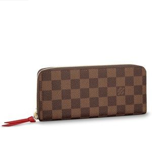 Louis Vuitton Clemence Wallet Damier Ebene Cherry
